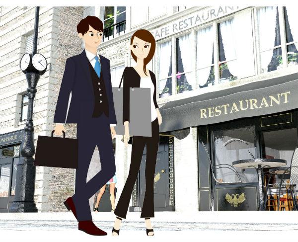 街をデイトしているカップル