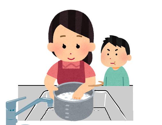 母親が米を研いている記憶