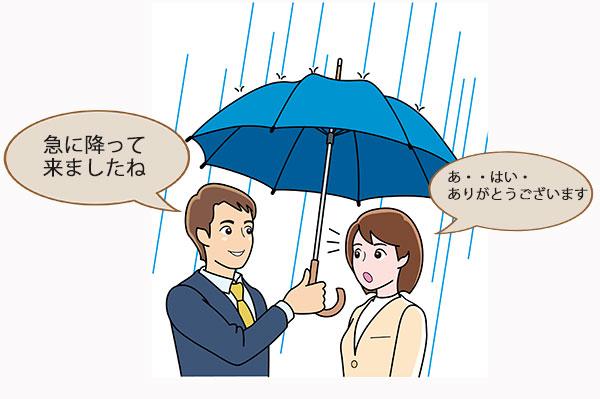 傘を差し出す男性