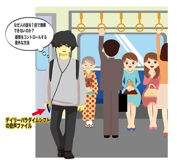 通学途中で音声ファイルを聞いている男性