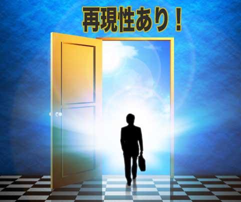再現性の扉に向かってあるいている男性