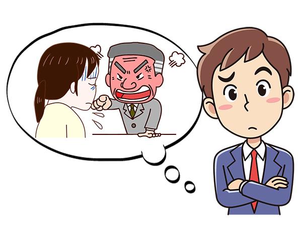 上司に叱られている女性事務員