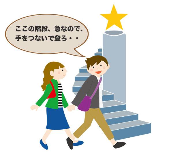 階段で女性の手をつなごうとする男性