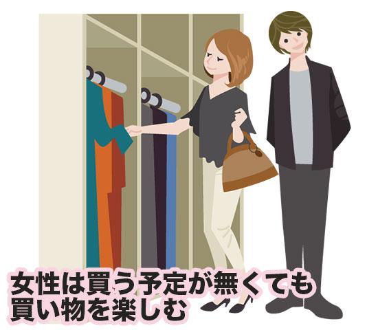 女性の買い物に付き合っている男性