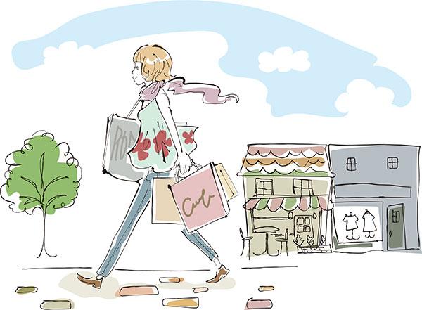 ウィンドウショッピングをしている女性