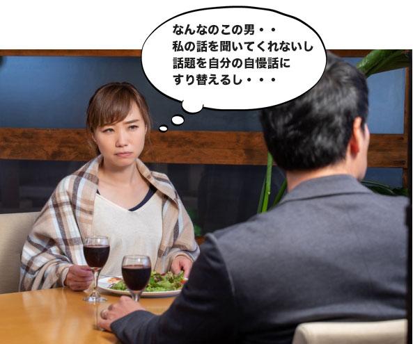 カップルで食事をしていて女性の話を聞かない男性