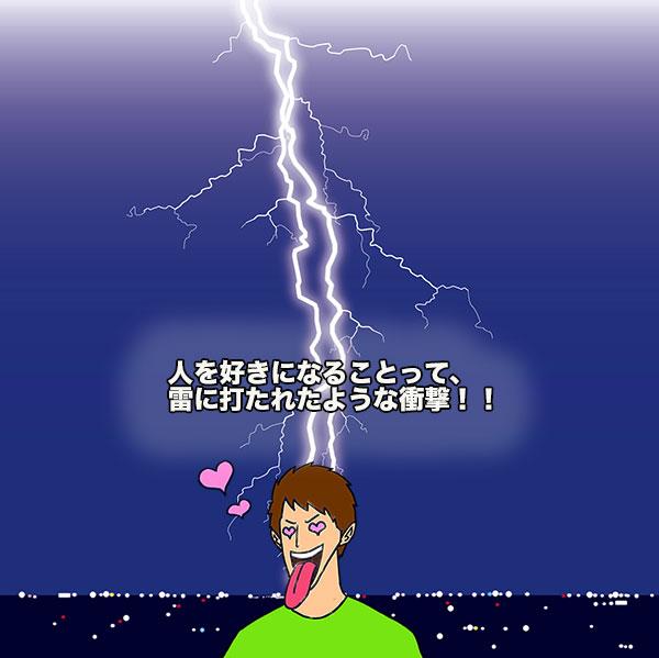 雷に打たれている男性