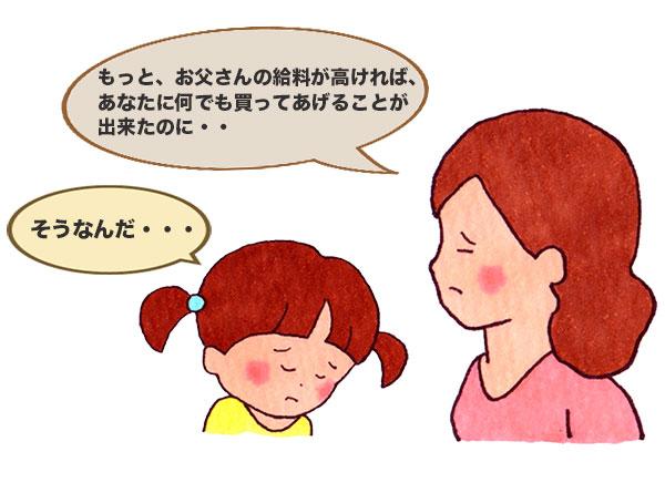 親が娘に愚痴を話している会話