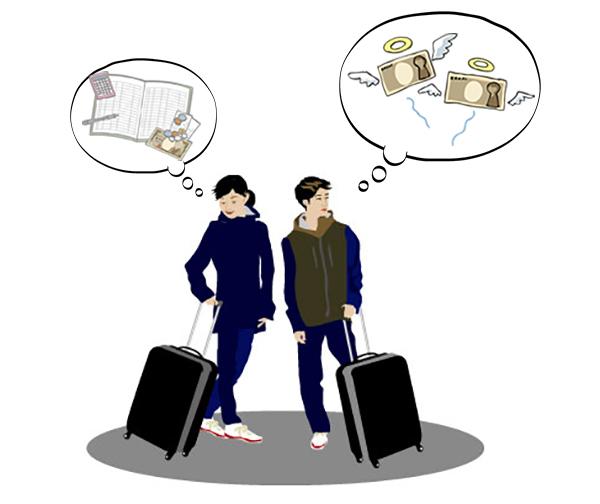 貧乏旅行をしているカップル