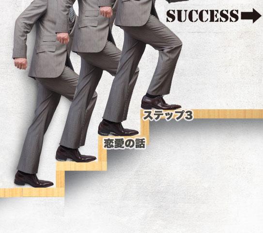 ステップ3の階段を登る男性